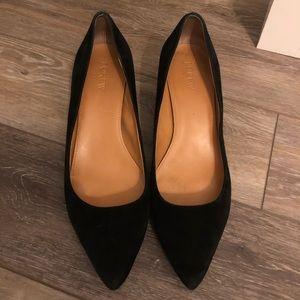 JCrew Black Suede Kitten Heels 10